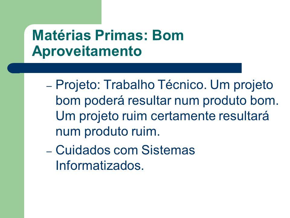Matérias Primas: Bom Aproveitamento – Projeto: Trabalho Técnico. Um projeto bom poderá resultar num produto bom. Um projeto ruim certamente resultará