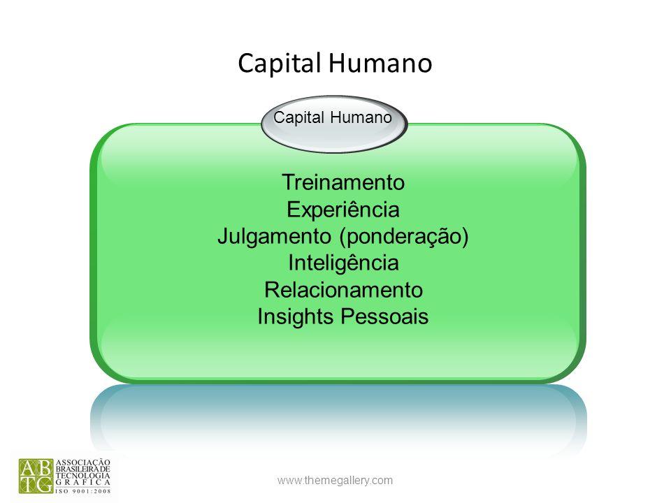 www.themegallery.com Capital Humano Treinamento Experiência Julgamento (ponderação) Inteligência Relacionamento Insights Pessoais