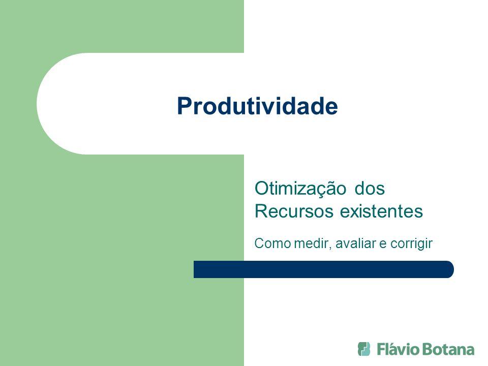Produtividade Otimização dos Recursos existentes Como medir, avaliar e corrigir