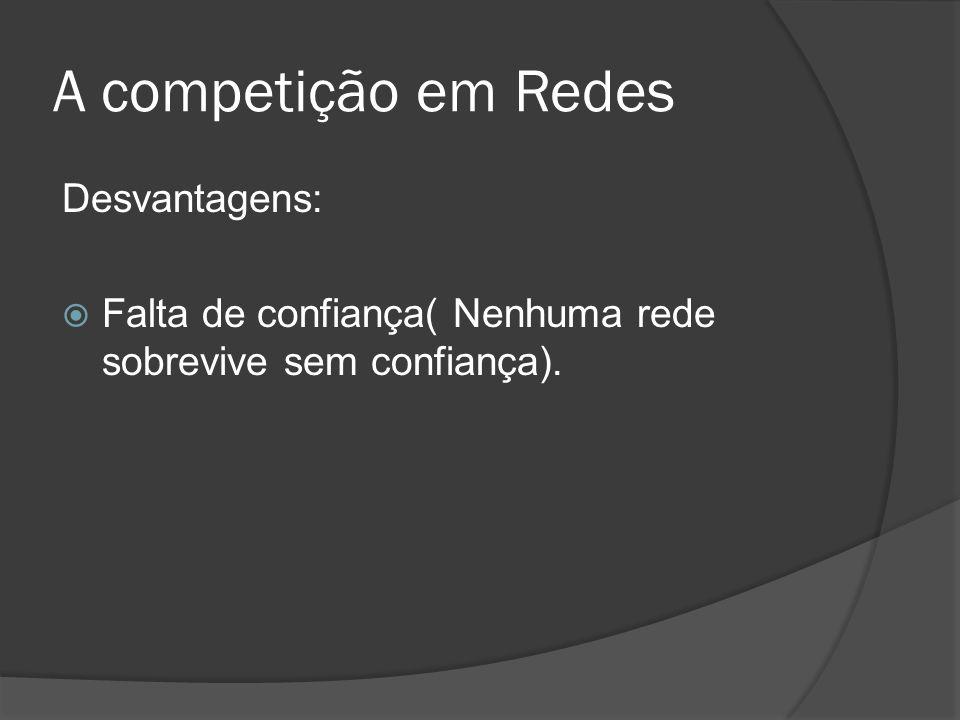 A competição em Redes Desvantagens: Falta de confiança( Nenhuma rede sobrevive sem confiança).
