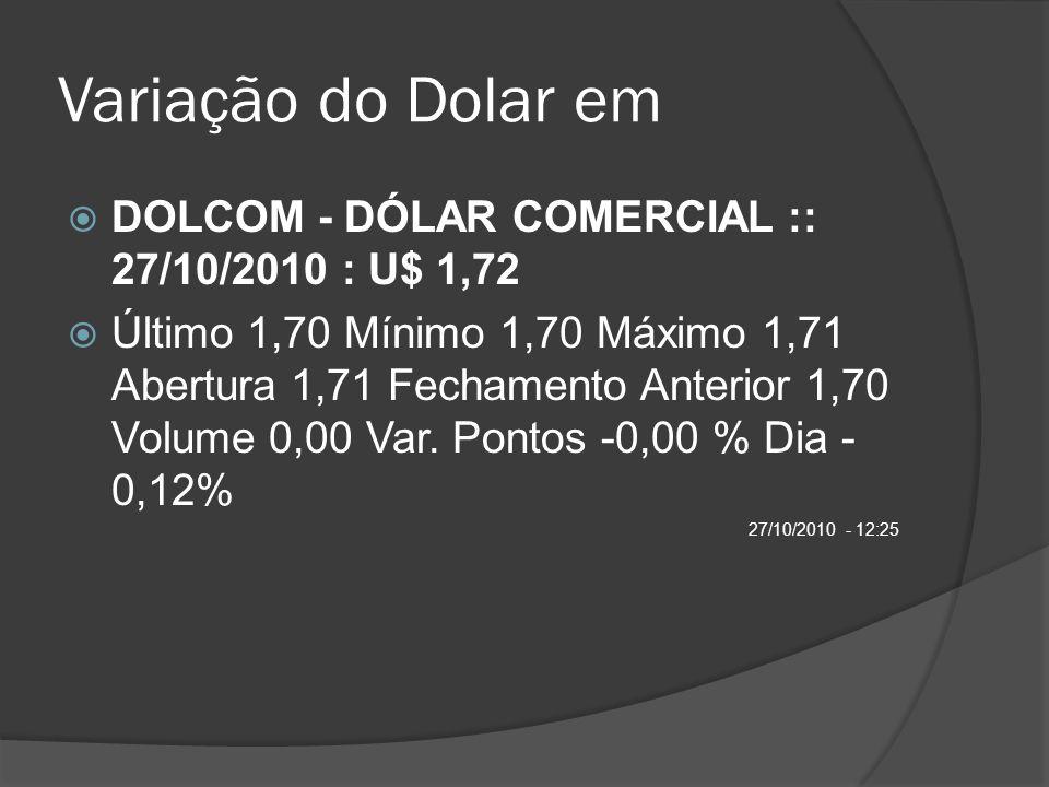 Variação do Dolar em DOLCOM - DÓLAR COMERCIAL :: 27/10/2010 : U$ 1,72 Último 1,70 Mínimo 1,70 Máximo 1,71 Abertura 1,71 Fechamento Anterior 1,70 Volum