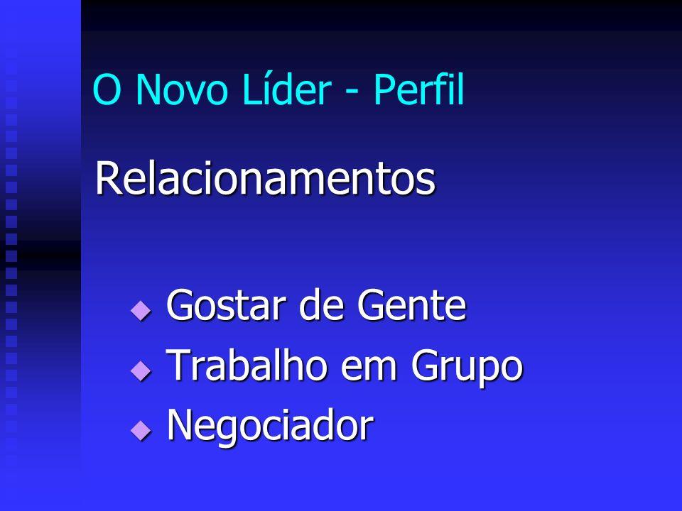 O Novo Líder - Perfil Relacionamentos Gostar de Gente Gostar de Gente Trabalho em Grupo Trabalho em Grupo Negociador Negociador