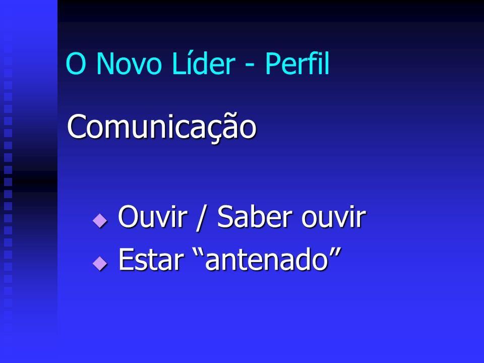 O Novo Líder - Perfil Comunicação Ouvir / Saber ouvir Ouvir / Saber ouvir Estar antenado Estar antenado