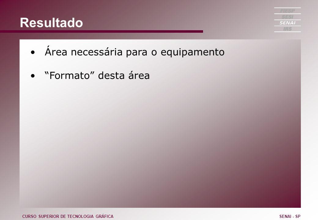 Resultado Área necessária para o equipamento Formato desta área CURSO SUPERIOR DE TECNOLOGIA GRÁFICASENAI - SP
