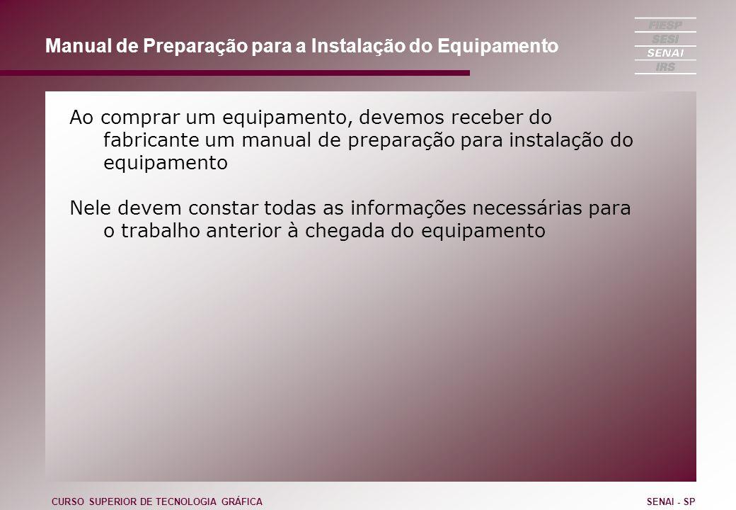 Manual de Preparação para a Instalação do Equipamento Ao comprar um equipamento, devemos receber do fabricante um manual de preparação para instalação