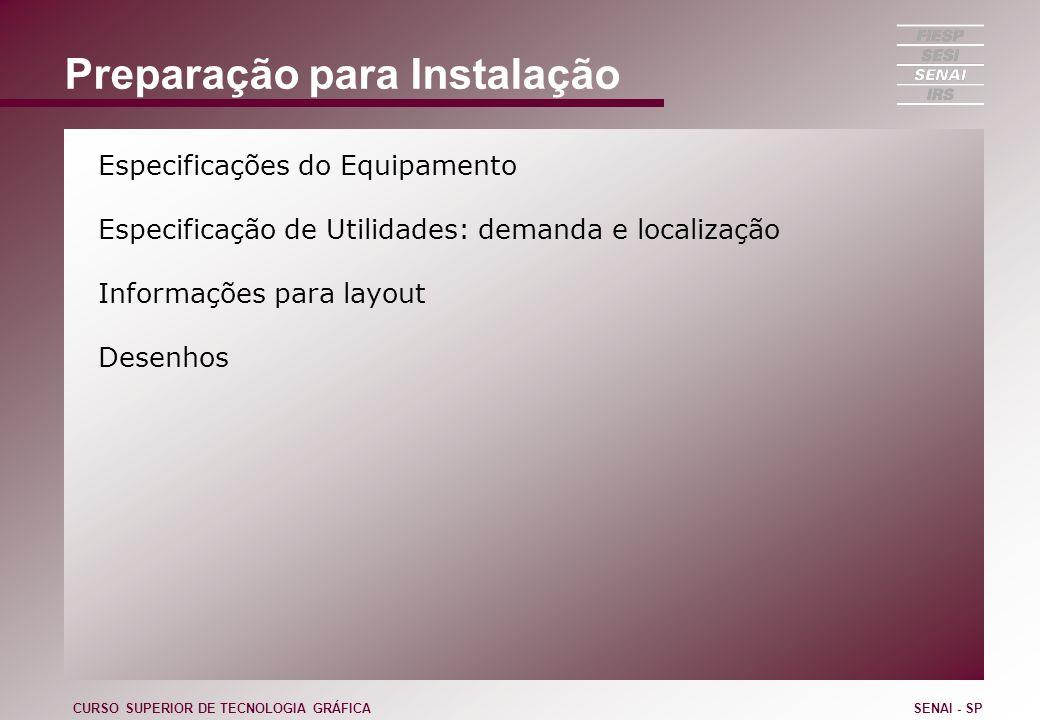 Preparação para Instalação Especificações do Equipamento Especificação de Utilidades: demanda e localização Informações para layout Desenhos CURSO SUP