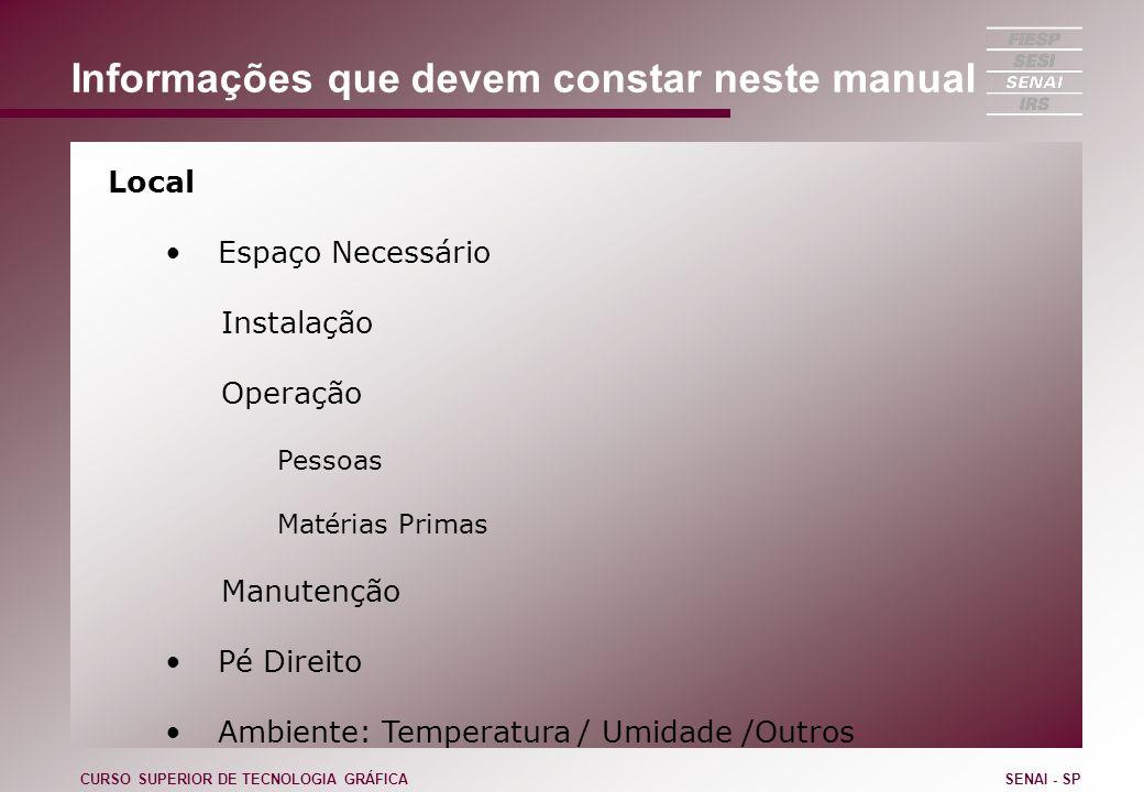 Informações que devem constar neste manual Local Espaço Necessário Instalação Operação Pessoas Matérias Primas Manutenção Pé Direito Ambiente: Tempera