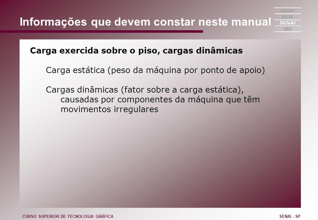 Informações que devem constar neste manual Carga exercida sobre o piso, cargas dinâmicas Carga estática (peso da máquina por ponto de apoio) Cargas di