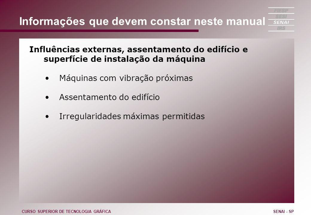 Informações que devem constar neste manual Influências externas, assentamento do edifício e superfície de instalação da máquina Máquinas com vibração