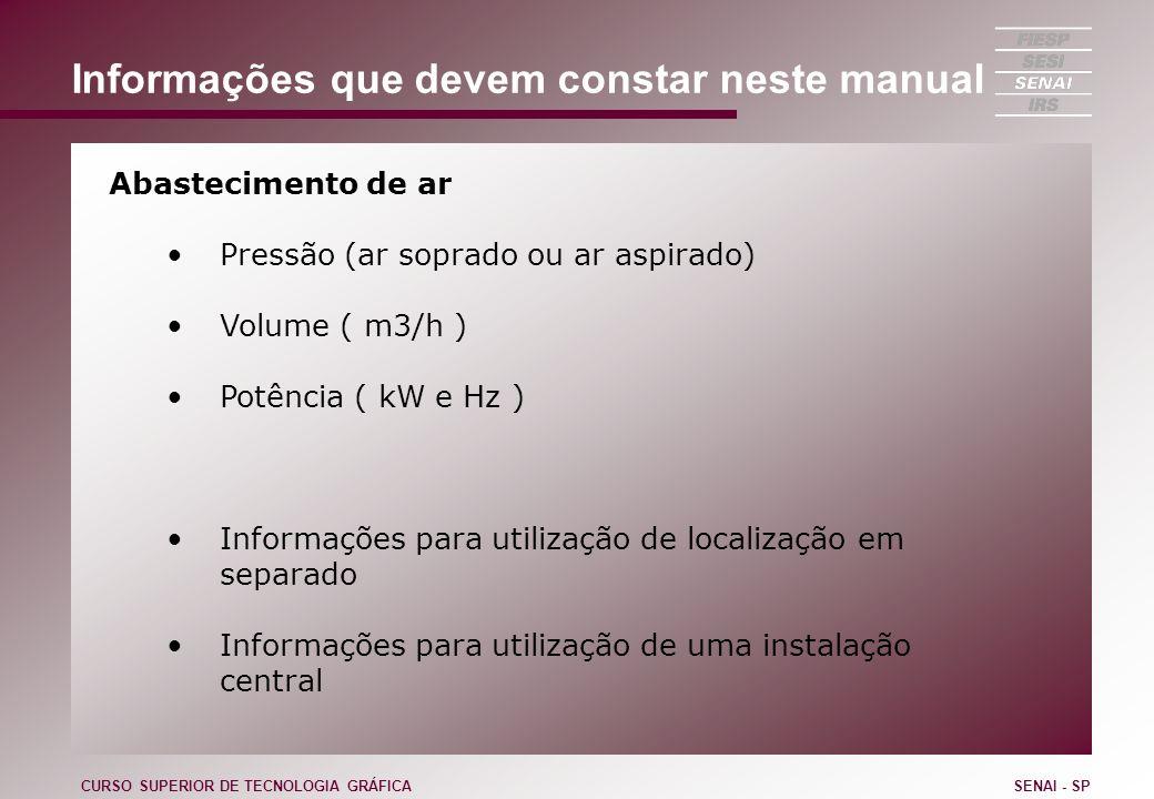 Informações que devem constar neste manual Abastecimento de ar Pressão (ar soprado ou ar aspirado) Volume ( m3/h ) Potência ( kW e Hz ) Informações pa