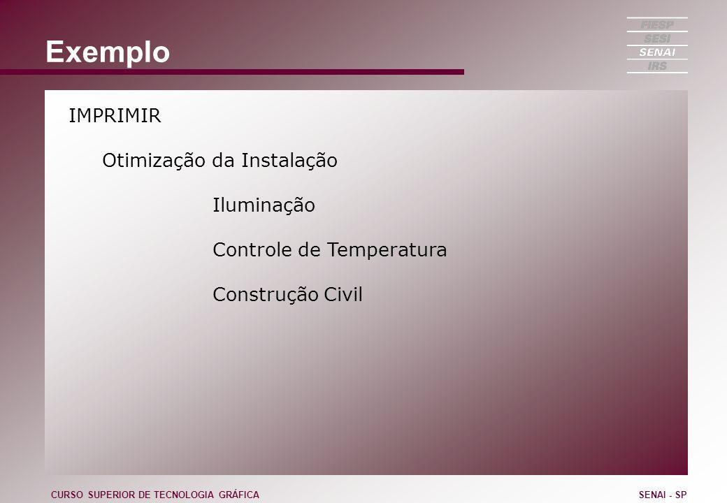Exemplo IMPRIMIR Otimização da Instalação Iluminação Controle de Temperatura Construção Civil CURSO SUPERIOR DE TECNOLOGIA GRÁFICASENAI - SP