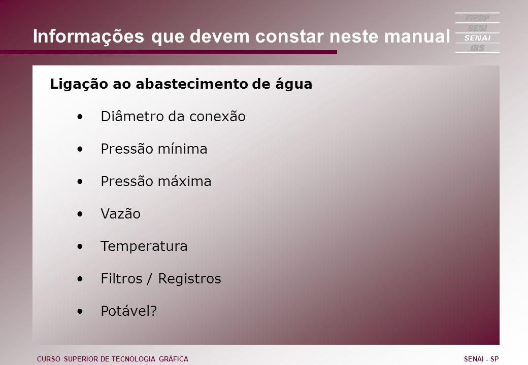 Informações que devem constar neste manual Ligação ao abastecimento de água Diâmetro da conexão Pressão mínima Pressão máxima Vazão Temperatura Filtro