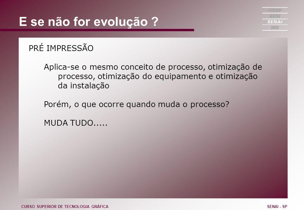 E se não for evolução ? PRÉ IMPRESSÃO Aplica-se o mesmo conceito de processo, otimização de processo, otimização do equipamento e otimização da instal