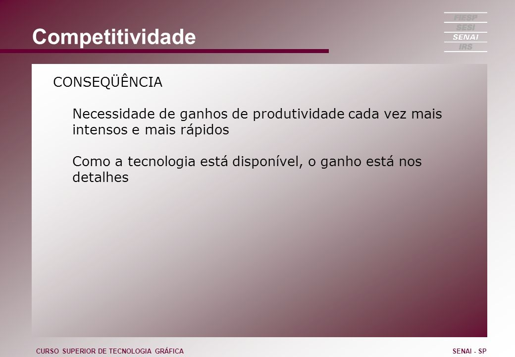 Sistema SLP Sistematic Layout Planning CURSO SUPERIOR DE TECNOLOGIA GRÁFICASENAI - SP