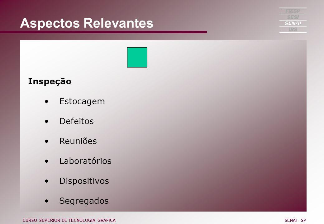 Aspectos Relevantes Inspeção Estocagem Defeitos Reuniões Laboratórios Dispositivos Segregados CURSO SUPERIOR DE TECNOLOGIA GRÁFICASENAI - SP