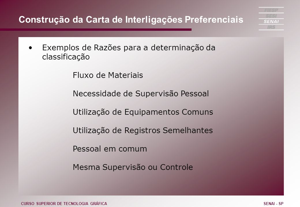 Construção da Carta de Interligações Preferenciais Exemplos de Razões para a determinação da classificação Fluxo de Materiais Necessidade de Supervisã