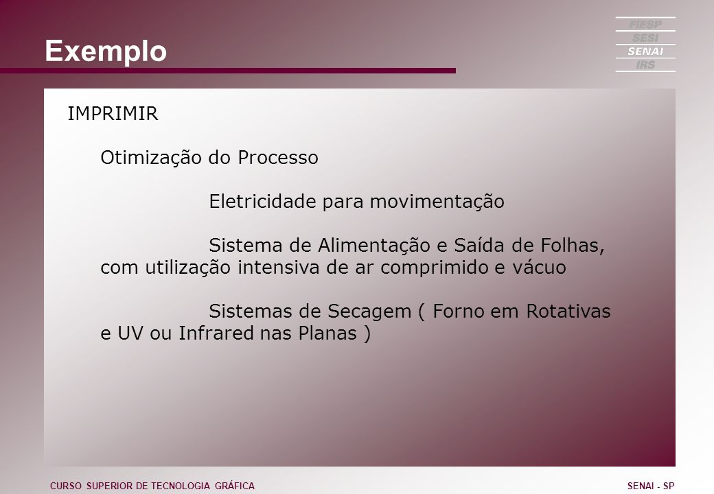 Exemplo IMPRIMIR Otimização do Processo Sistemas de proteção ( Vernizes ) Sistema de Molha Controle de entintagem CURSO SUPERIOR DE TECNOLOGIA GRÁFICASENAI - SP