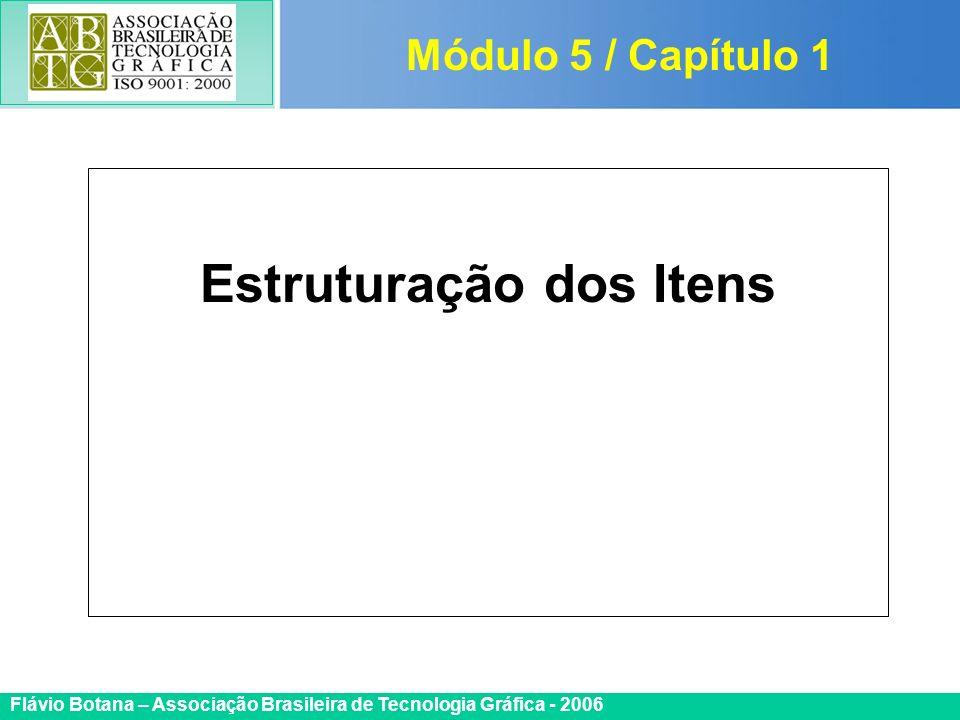 Certificada ISO 9002 Flávio Botana – Associação Brasileira de Tecnologia Gráfica - 2006 Estruturação dos Itens Módulo 5 / Capítulo 1