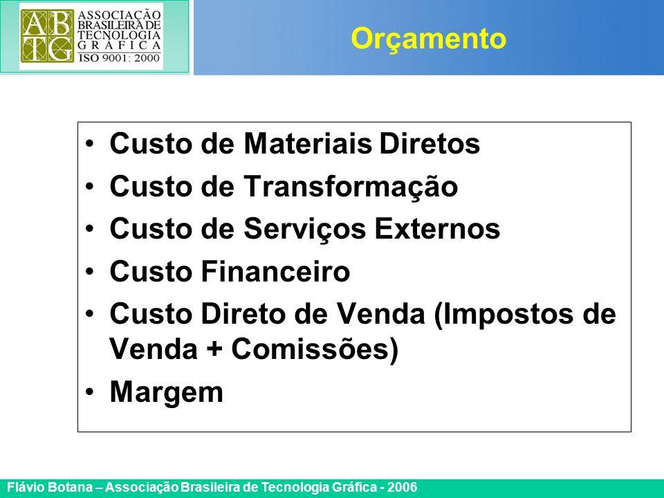 Certificada ISO 9002 Flávio Botana – Associação Brasileira de Tecnologia Gráfica - 2006 Custo de Materiais Diretos Custo de Transformação Custo de Ser