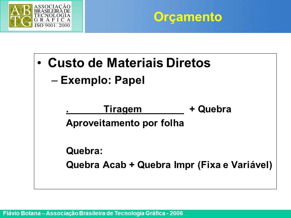Certificada ISO 9002 Flávio Botana – Associação Brasileira de Tecnologia Gráfica - 2006 Custo de Materiais Diretos –Exemplo: Papel. Tiragem + Quebra A
