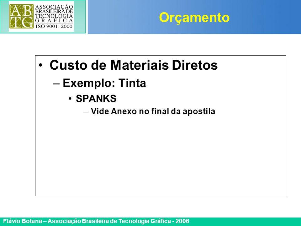 Certificada ISO 9002 Flávio Botana – Associação Brasileira de Tecnologia Gráfica - 2006 Custo de Materiais Diretos –Exemplo: Tinta SPANKS –Vide Anexo
