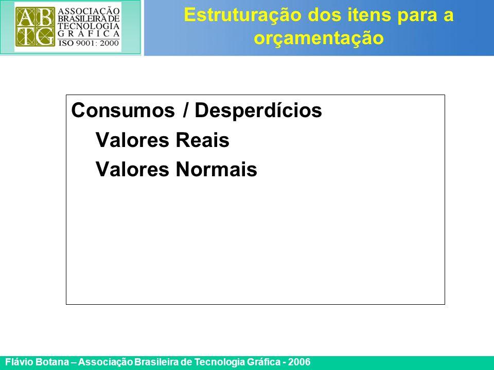 Certificada ISO 9002 Flávio Botana – Associação Brasileira de Tecnologia Gráfica - 2006 Consumos / Desperdícios Valores Reais Valores Normais Estrutur