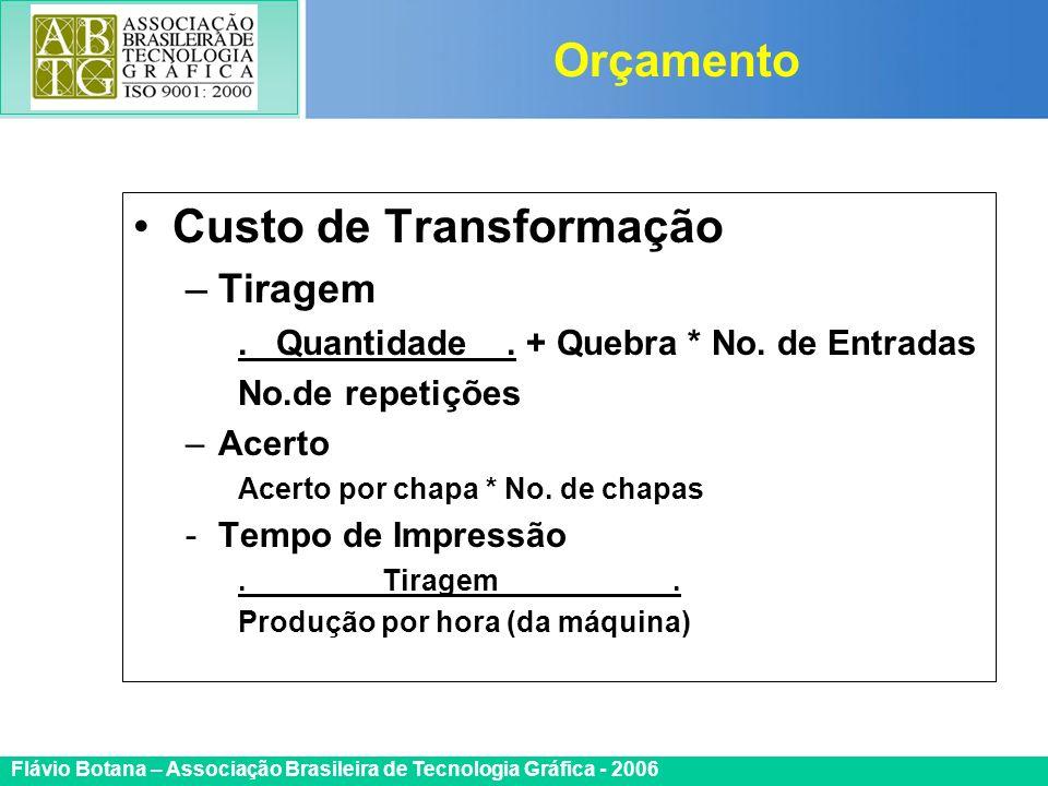 Certificada ISO 9002 Flávio Botana – Associação Brasileira de Tecnologia Gráfica - 2006 Custo de Transformação –Tiragem. Quantidade. + Quebra * No. de