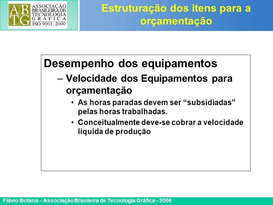 Certificada ISO 9002 Flávio Botana – Associação Brasileira de Tecnologia Gráfica - 2006 Desempenho dos equipamentos –Velocidade dos Equipamentos para