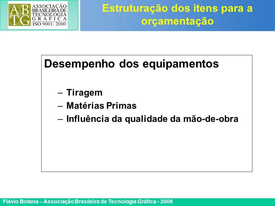 Certificada ISO 9002 Flávio Botana – Associação Brasileira de Tecnologia Gráfica - 2006 Desempenho dos equipamentos –Tiragem –Matérias Primas –Influên