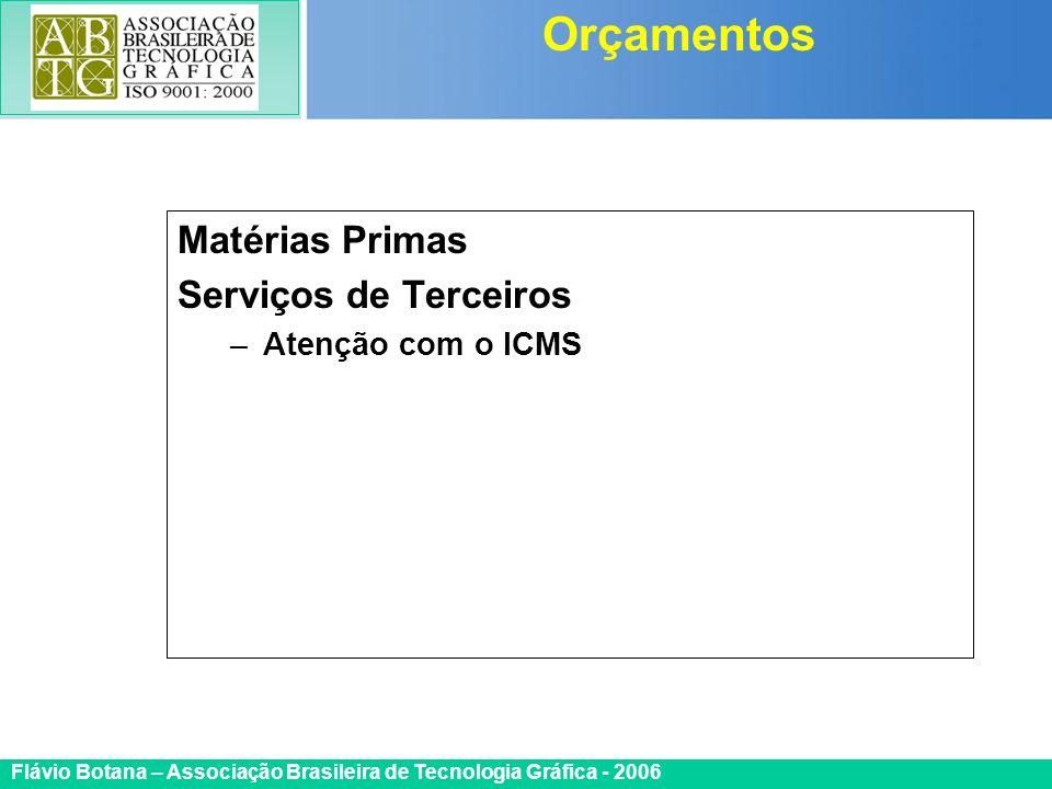 Certificada ISO 9002 Flávio Botana – Associação Brasileira de Tecnologia Gráfica - 2006 Matérias Primas Serviços de Terceiros –Atenção com o ICMS Orça