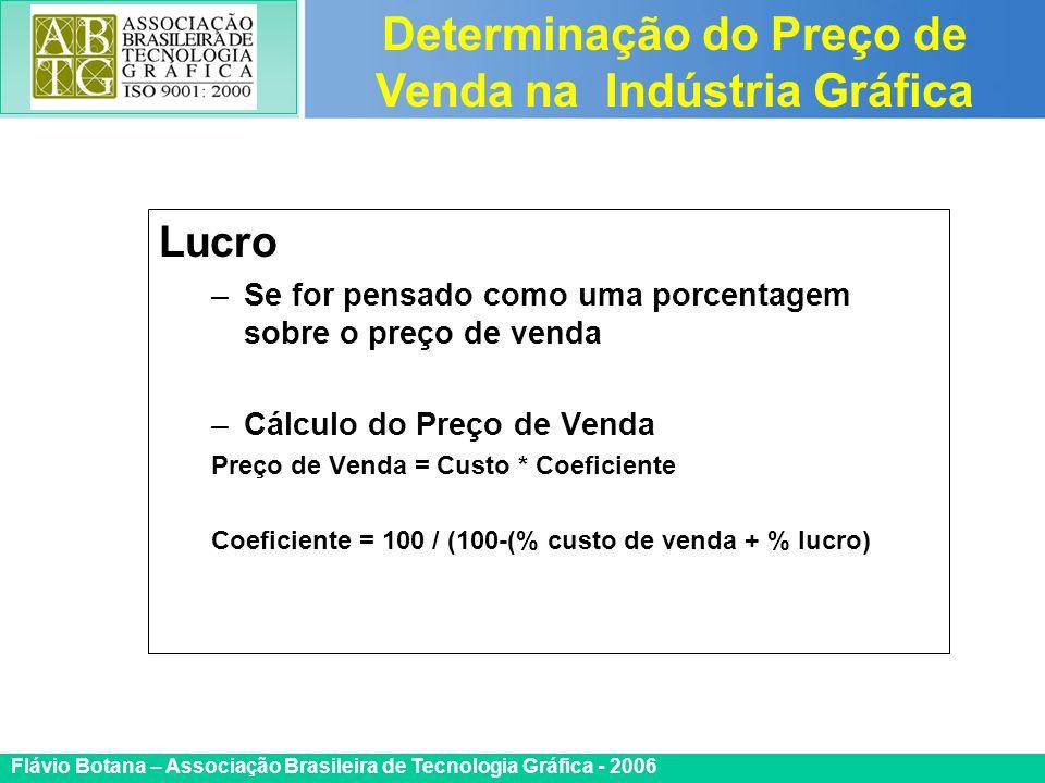 Certificada ISO 9002 Flávio Botana – Associação Brasileira de Tecnologia Gráfica - 2006 Lucro –Se for pensado como uma porcentagem sobre o preço de ve