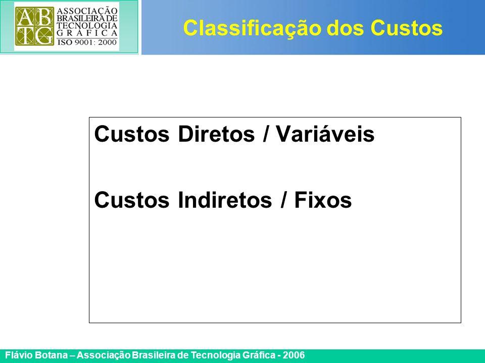 Certificada ISO 9002 Flávio Botana – Associação Brasileira de Tecnologia Gráfica - 2006 Custos Diretos / Variáveis Custos Indiretos / Fixos Classifica