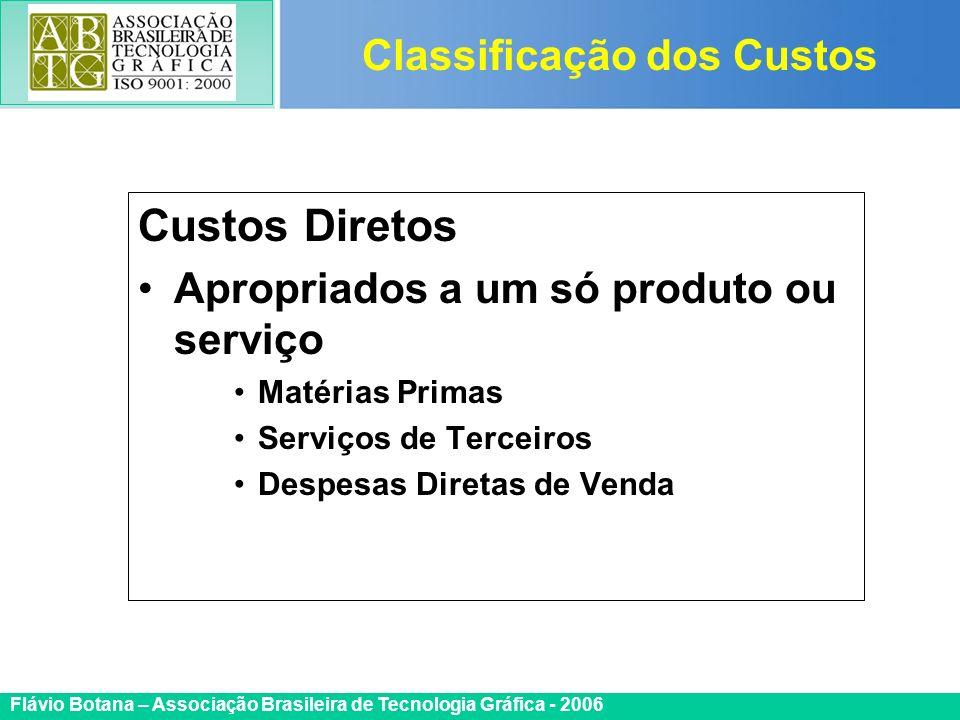 Certificada ISO 9002 Flávio Botana – Associação Brasileira de Tecnologia Gráfica - 2006 Custos Diretos Apropriados a um só produto ou serviço Matérias