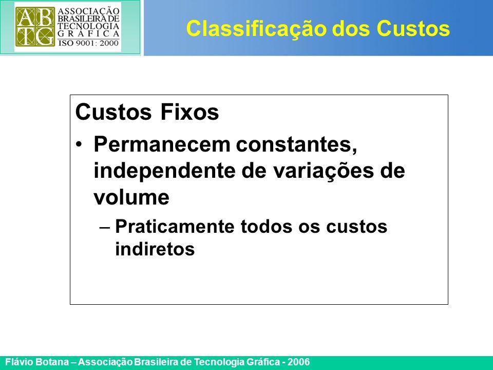 Certificada ISO 9002 Flávio Botana – Associação Brasileira de Tecnologia Gráfica - 2006 Custos Fixos Permanecem constantes, independente de variações