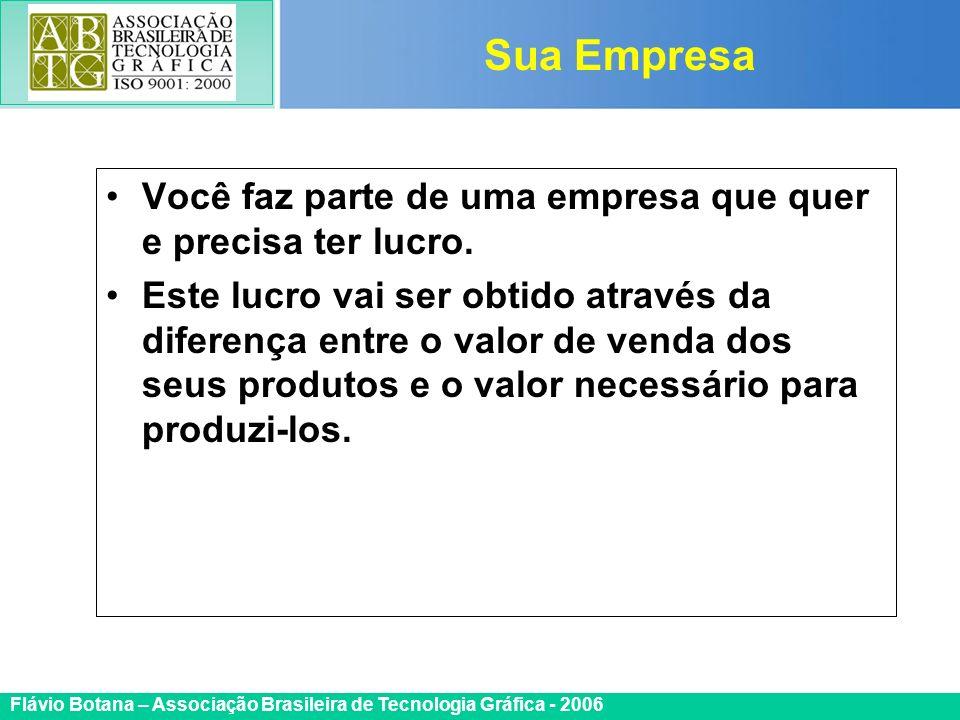 Certificada ISO 9002 Flávio Botana – Associação Brasileira de Tecnologia Gráfica - 2006 Você faz parte de uma empresa que quer e precisa ter lucro. Es