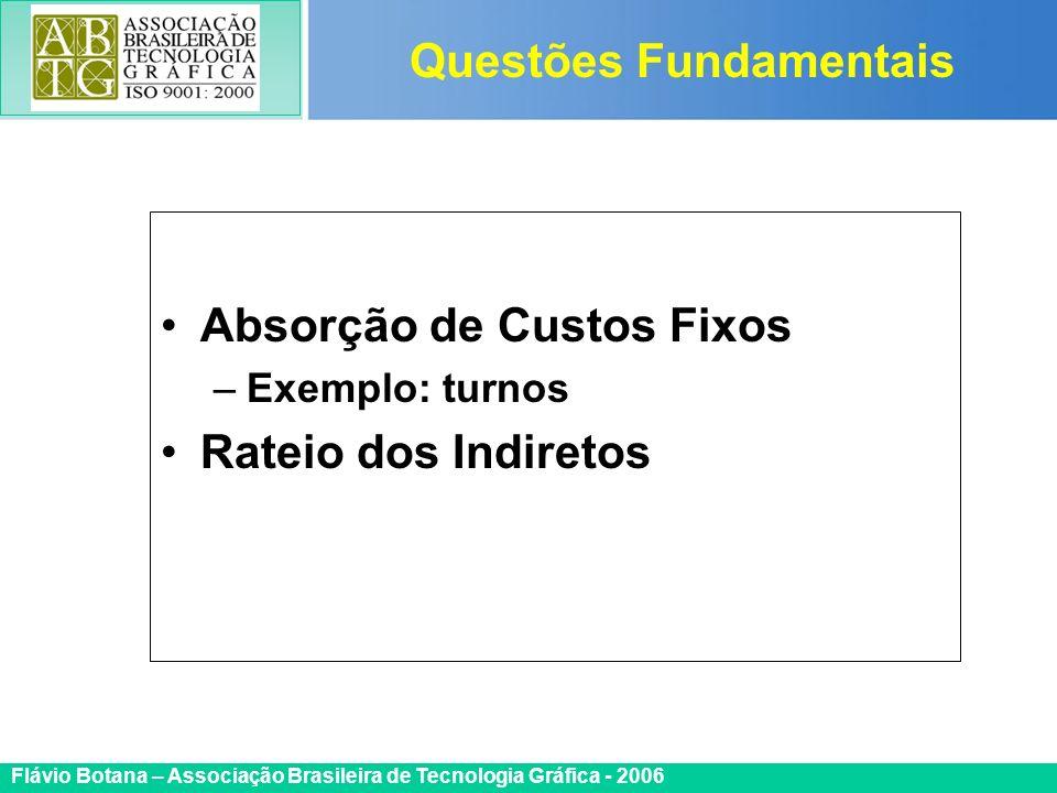 Certificada ISO 9002 Flávio Botana – Associação Brasileira de Tecnologia Gráfica - 2006 Absorção de Custos Fixos –Exemplo: turnos Rateio dos Indiretos