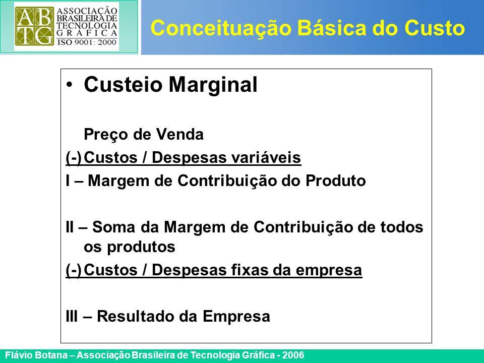Certificada ISO 9002 Flávio Botana – Associação Brasileira de Tecnologia Gráfica - 2006 Custeio Marginal Preço de Venda (-)Custos / Despesas variáveis