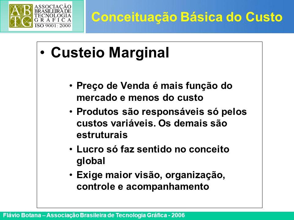 Certificada ISO 9002 Flávio Botana – Associação Brasileira de Tecnologia Gráfica - 2006 Custeio Marginal Preço de Venda é mais função do mercado e men