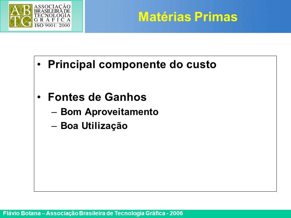 Certificada ISO 9002 Flávio Botana – Associação Brasileira de Tecnologia Gráfica - 2006 Principal componente do custo Fontes de Ganhos –Bom Aproveitam