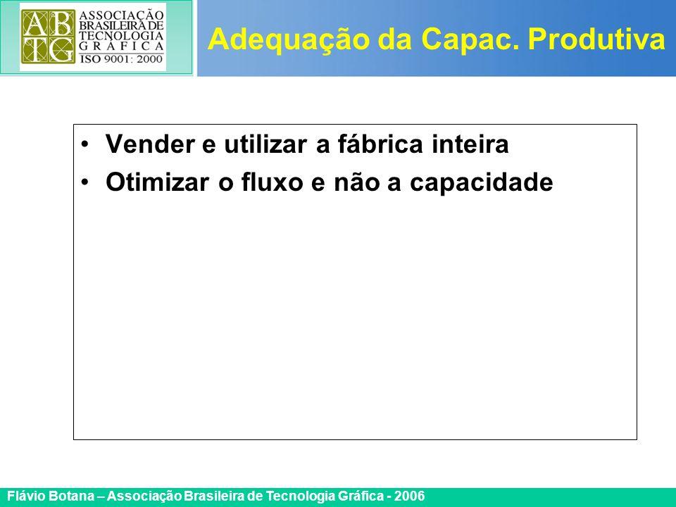 Certificada ISO 9002 Flávio Botana – Associação Brasileira de Tecnologia Gráfica - 2006 Vender e utilizar a fábrica inteira Otimizar o fluxo e não a c