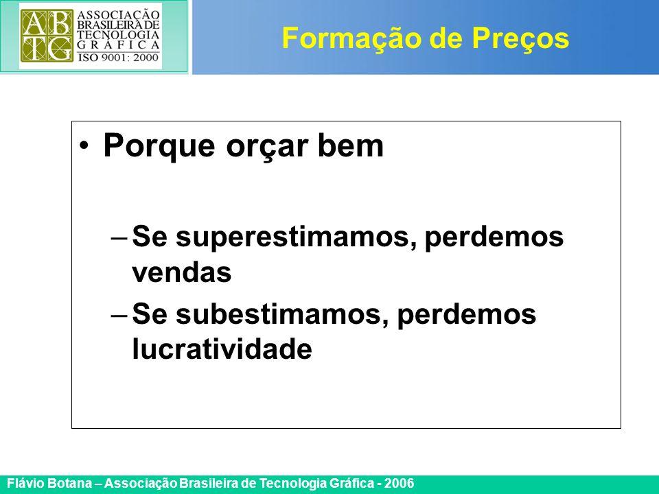 Certificada ISO 9002 Flávio Botana – Associação Brasileira de Tecnologia Gráfica - 2006 Porque orçar bem –Se superestimamos, perdemos vendas –Se subes
