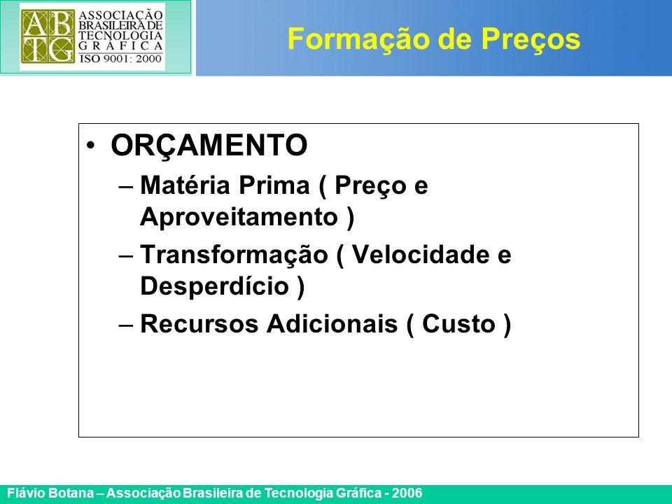 Certificada ISO 9002 Flávio Botana – Associação Brasileira de Tecnologia Gráfica - 2006 ORÇAMENTO –Matéria Prima ( Preço e Aproveitamento ) –Transform