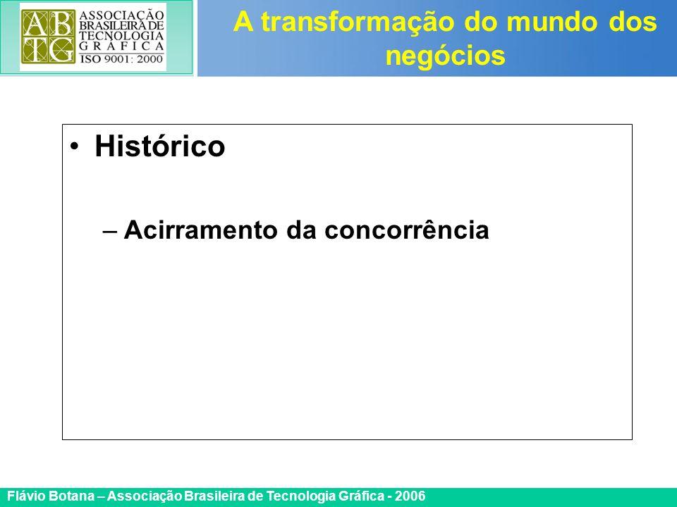 Certificada ISO 9002 Flávio Botana – Associação Brasileira de Tecnologia Gráfica - 2006 Histórico –Acirramento da concorrência A transformação do mund