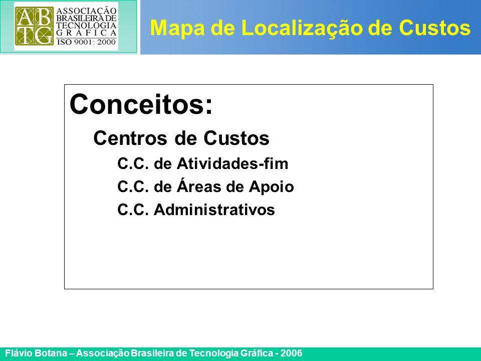 Certificada ISO 9002 Flávio Botana – Associação Brasileira de Tecnologia Gráfica - 2006 Conceitos: Centros de Custos C.C. de Atividades-fim C.C. de Ár