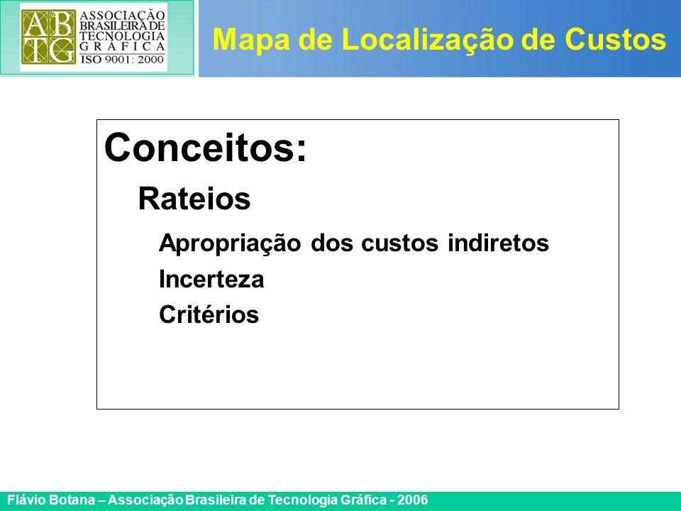 Certificada ISO 9002 Flávio Botana – Associação Brasileira de Tecnologia Gráfica - 2006 Conceitos: Rateios Apropriação dos custos indiretos Incerteza
