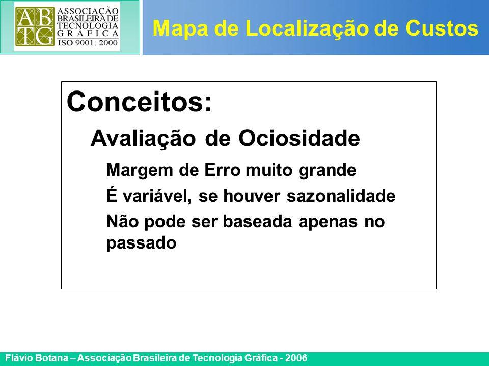 Certificada ISO 9002 Flávio Botana – Associação Brasileira de Tecnologia Gráfica - 2006 Conceitos: Avaliação de Ociosidade Margem de Erro muito grande