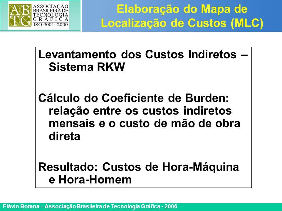 Certificada ISO 9002 Flávio Botana – Associação Brasileira de Tecnologia Gráfica - 2006 Levantamento dos Custos Indiretos – Sistema RKW Cálculo do Coe