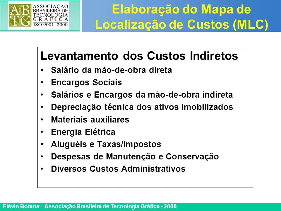 Certificada ISO 9002 Flávio Botana – Associação Brasileira de Tecnologia Gráfica - 2006 Levantamento dos Custos Indiretos Salário da mão-de-obra diret