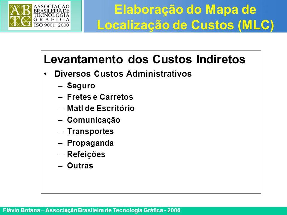 Certificada ISO 9002 Flávio Botana – Associação Brasileira de Tecnologia Gráfica - 2006 Levantamento dos Custos Indiretos Diversos Custos Administrati