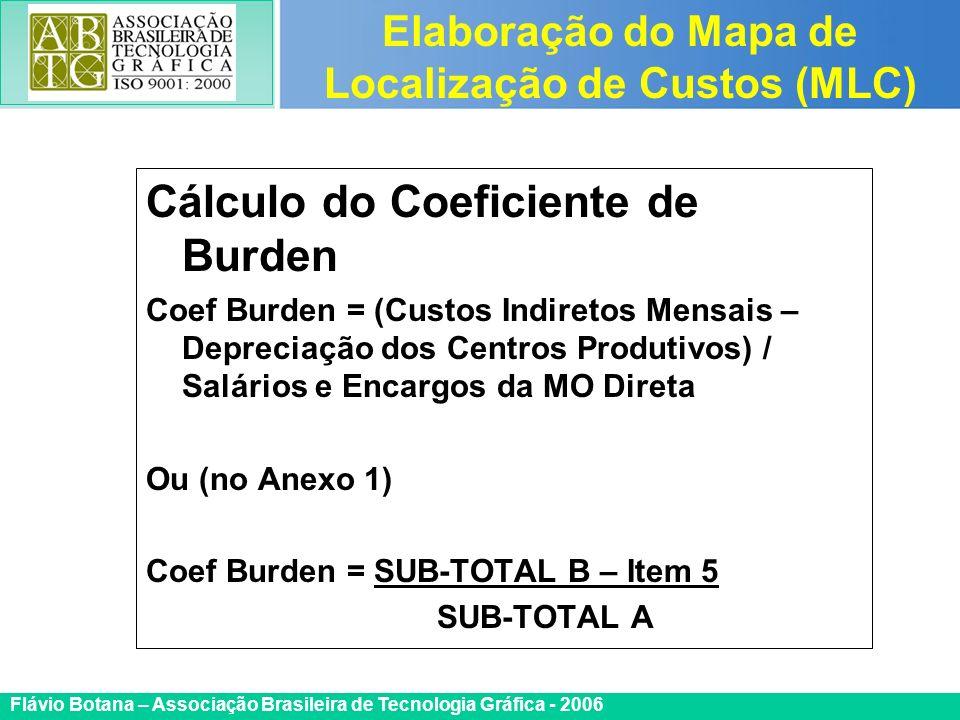 Certificada ISO 9002 Flávio Botana – Associação Brasileira de Tecnologia Gráfica - 2006 Cálculo do Coeficiente de Burden Coef Burden = (Custos Indiret